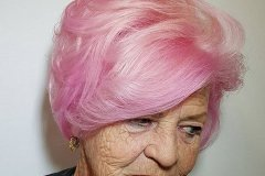 Pink hair color 2019 short haircut for older women over 70